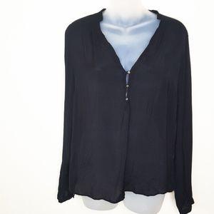 Zara Woman Black Button Blouse Sz L